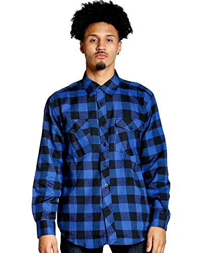 Men's Buffalo Plaid Woven Shirt,Royal,XL
