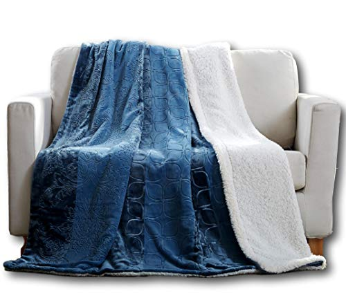 Cheap Tache Sherpa Dusty Blue Throw Blanket - Rainy Day - Elegant Embossed Solid Soft Throw Blanket - Queen Size - 90x90 Inch Black Friday & Cyber Monday 2019
