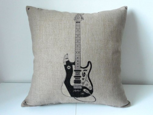 Decorbox Cotton Linen Square Decorative Throw Pillow Case Cushion Cover Electric Guitar 18