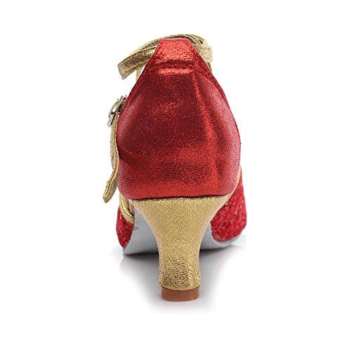 Ballo Rosso Paillettes 5 Donna Standard Scarpe da da Ballroom Ballo Scarpe Bambine amp; YKXLM Sala Modello ITMF1818 Latino 7FcAtxqTTw