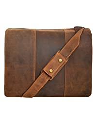 """Visconti 16019 """"Mucho"""" Xl Leather Messenger Bag (Holds Most 17"""" Laptops) (Oil Tan)"""