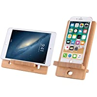 NorthMost Bamboo Wooden Cell Phone Stand Compatible with Pad, Tablet, Phone 8 X XS Max, E-Reader