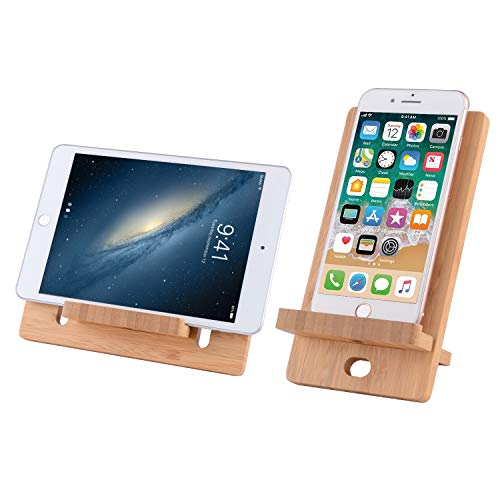 NorthMost Cell Phone Stand, Bamboo Wooden Tablet Holder: Desktop Stand Holder Dock Compatible with Pad, Tablet, Phone 8 X XS Max, E-Reader (4-13 inch)