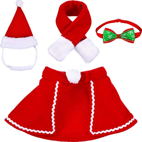 (Tatuo Pet Adjustable Christmas Santa Hat, Cloak, Scarf and Collar Bow Tie Christmas Costume for Puppy Kitten Small Cats Dogs)