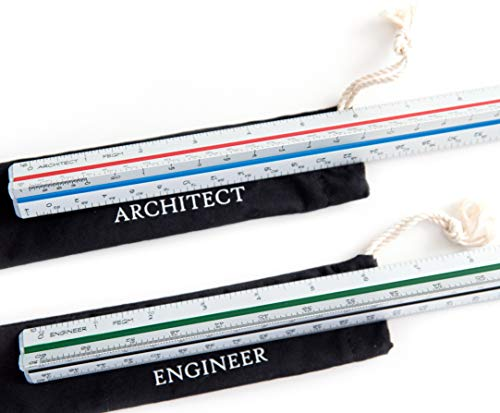 Architect (Imperial) Scale and Engineer Scale Set - Two 12 Inch Aluminum Triangular Scale Rulers with Protective Sleeves
