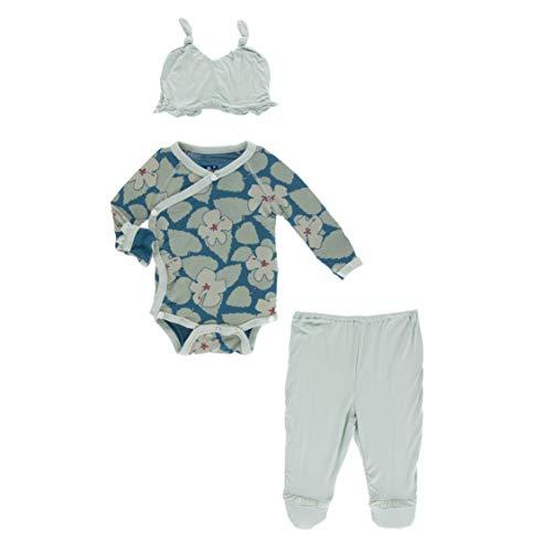 Ruffle Kimono Newborn Gift Set with Elephant Gift Box (Oasis Hibiscus - Newborn)
