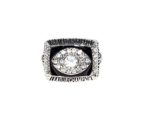 FANTASY FOOTBALL 2018 LEAGUE CHAMPION Collectible High Quality Replica NFL Football Silver Championship Ring with Cherrywood Display Box