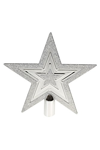 - Flat Star Tree Topper by Clever Creations | Silver Glitter 5 Point Star | Festive Christmas Décor | Perfect Complement to Any Holiday Decoration | Unlit Shatter Resistant Sparkled Plastic | 8