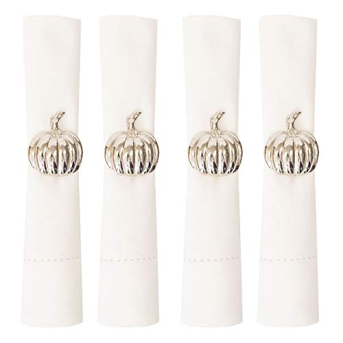 C&F Home Silver Pumpkin 1.5 x 1.5 Inch Brass Decorative Napkin Ring Pack of 4