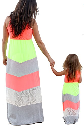 WIWIQS Summer Cute Mommy and Me Boho Striped Chevron Floor Length Dresses(Lace Stitching,2-3T)