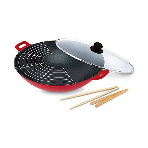BEKA hierro fundido-wok antiadherente con tapa de hierro ...