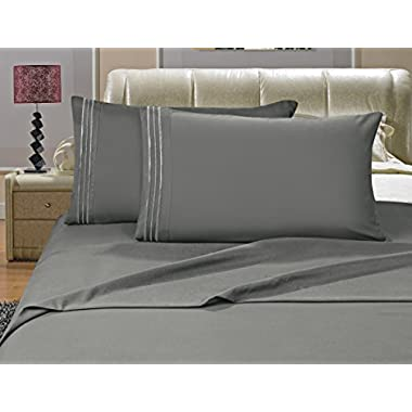 Elegant Comfort 4-Piece Bed Sheet Set Luxury 1500 Thread Count Egyptian Quality Wrinkle,Fade and Stain Resistant % 100 HypoAllergenic, King Gray