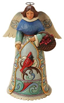 Enesco Jim Shore Heartwood Creek Winter Angel with Cardinal Figurine, 7.25-Inch