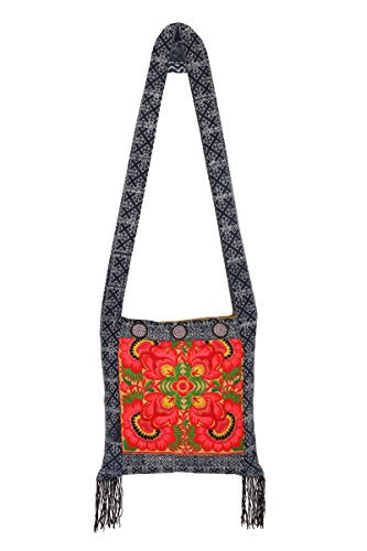 Hmong Embroidered Cross Body Bag Orange