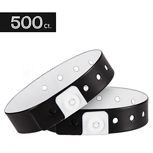 (Ouchan Plastic Wristbands Black- 500 Pack Wristbands for Events Club Music Meeting Party)