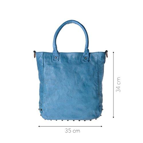 Borsa in pelle lavata tinta in capo con borchie e tracolla DUDU Agata Blue