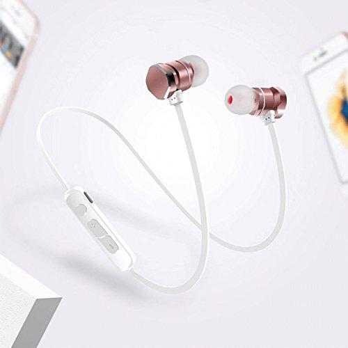 TOOGOO Auriculares inalambricos del Deporte del Auricular de Bluetooth Que Funcionan con el Mic para el iPhone xiaomi Samsung MP3 (Blanco): Amazon.es: ...