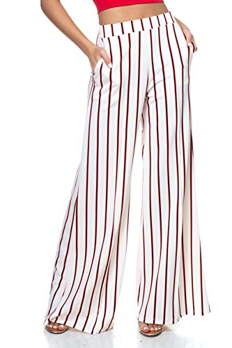 Cemi Ceri Women's Flowing Palazzo Pants, Medium, White Stripe
