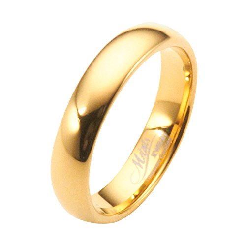 MJ Metals Jewelry 4mm Gold Plated Polished Tungsten Carbide Wedding Ring Classic Half Dome Band Size 7