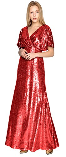 Party V Formal Neck Rot Sequin Bridesmaid Wedding Gown MACloth Sleeve Gorgeous Short Dress RqUWz