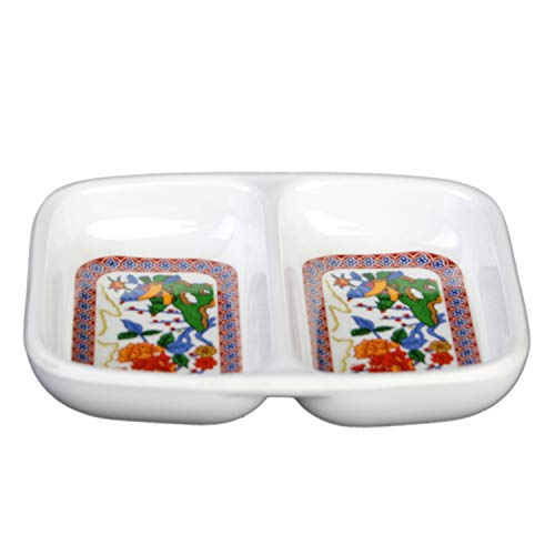 "Peacock melamine dinnerware collection 2 oz, 3 3/8"" x 2 3/4"" twin sauce dish, Comes in 24/ pack"