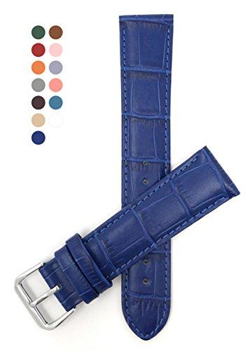 Blue Genuine Alligator Watch - 16mm Royal Blue Womens' Alligator Style Genuine Leather Watch Strap Band