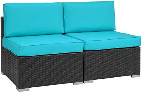Walsunny 2pcs Patio Outdoor Furniture Sets,Low Back All-Weather Rattan Sectional Sofa