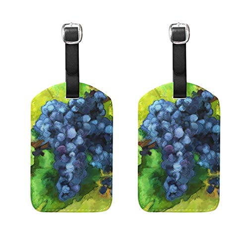 HangWang Set of 2 Luggage Tags Grapes Oil Painting Suitcase