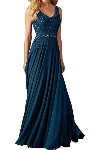 - onlinedress Women's V Neck Beaded Applique Prom Dress Long Bridesmaid Dresses Size 14 Teal