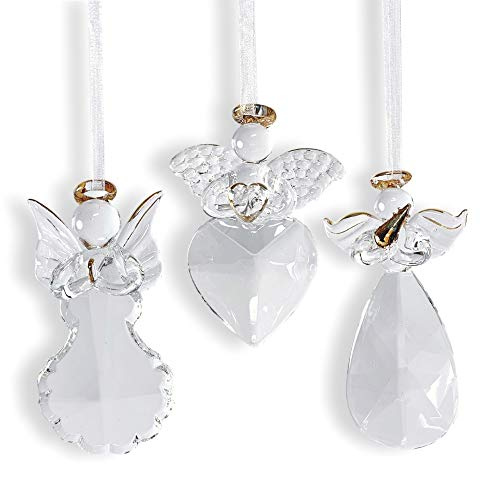 - BANBERRY DESIGNS Angel Ornaments - Set of 3 Glass Angel Ornaments with Gold Trim - Christmas Ornament Set