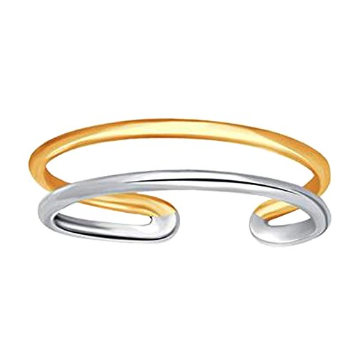 14K White And Yellow Gold Double Bar Cuff Style Adjustable Toe - Two Yellow Tone Ring Toe