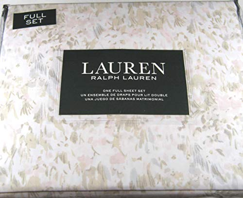 Lauren 4 Piece Full Size Pastel Watercolor Abstract Floral Sheet Set 100% Cotton Pink, Taupe and Gray