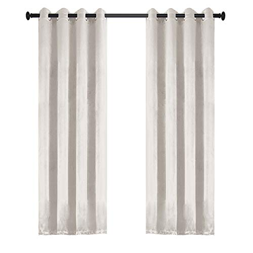 Dimaka 95 inch Length Room Darkening Blackout Window Curtain Set of 2 Panels with Grommets, Noise and Light Reducing Draperies for Home Decor (Grayish White, W52 L95 Pair) For Sale