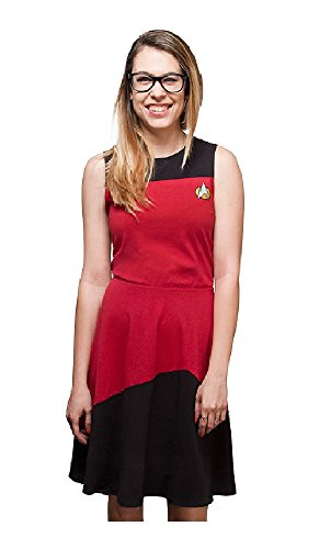 [Star Trek Womens TNG Starfleet Dress (M, Red)] (Red Star Trek Dress)