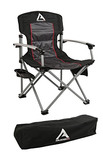 ARB 10500111A Camping Chair Incl. Extruded Aluminum Armrests/Locking Catches/Drink Holder Side Tray/Side Pocket/Magazine Pocket/Carry Bag Camping - Camping Chair Aluminum