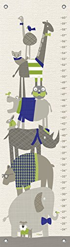 Oopsy Daisy Fine Art for Kids Happy Animal Herd Growth Chart by Vicky Barone, 12 x 42'', Green and Navy by Oopsy Daisy