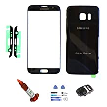 (md0410) Galaxy S7 EDGE OEM BLACK Front Outer Glass Lens Screen Back Glass Battery Door Housing Camera Flash Lens Cover Adhesive UV LOCA Glue Full LCD Digitizer Repair Kit Replacement G935