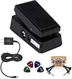 Jim Dunlop CBM95 Cry Baby Mini Wah Pedal Bundle with 2-Pack of Blucoil Pedal Patches, Slim 9V 670ma Power Supply AC Adapter and 4-Pack of Celluloid Guitar Picks
