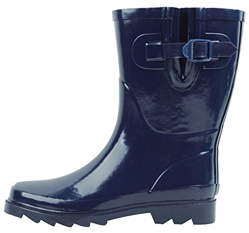 Cambridge Select Womens Waterproof Pull On Mid Calf Welly Rain Boot Navy HJHmYTDp