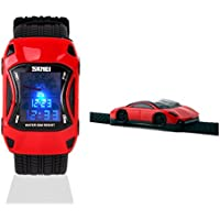 Kids Watches Boys Waterproof Sports Digital LED Wristwatches 7 Colors Flashing Car Shape Wrist Watches for Children for Age 3-10