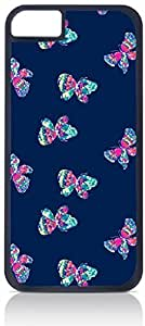 Butterflies Pattern Case for the Apple Iphone 5-5s Universal-Hard Black Plastic Outer Shell with Inner Soft Black Rubber Lining-(NOT 5C) wangjiang maoyi