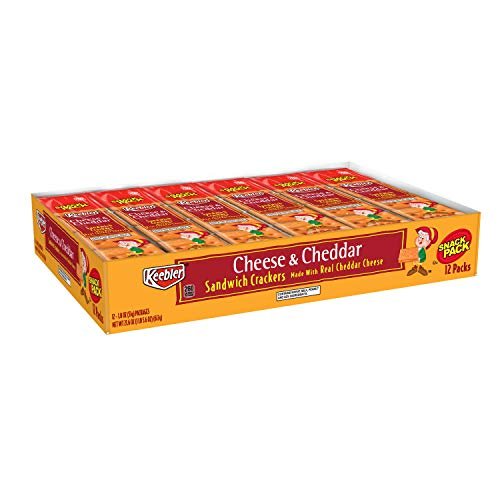 Keebler Cheese and Cheddar Sandwich Crackers, Single Serve, 1.8 oz Packages (12 Count)