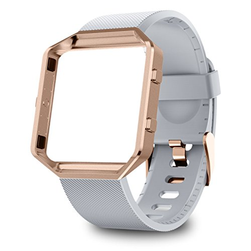 GreenInsync Fitbit Blaze Bands for Women, Fitbit Blaze Accessory Replacement Band Adjustable Wristbands Small Bracelet Strap W/Metal Frame for Fitbit Blaze Smart Fitness Watch, Gray+Rose Gold Frame by GreenInsync