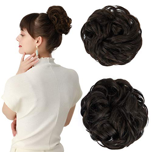 REECHO Women's Thick 2PCS Hair Scrunchies Made of Hair Curly Wavy Updo Hair Bun Extensions Messy Hairpieces - Black Brown (Human Hair Extensions Buns)