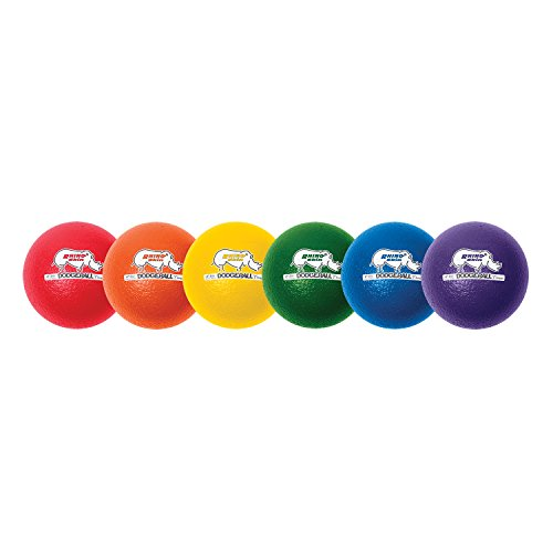 Champion Sports RXD6SET  Rhino Skin Low Bounce Dodgeball, 6-Inch - Set of 6, Multi-Color