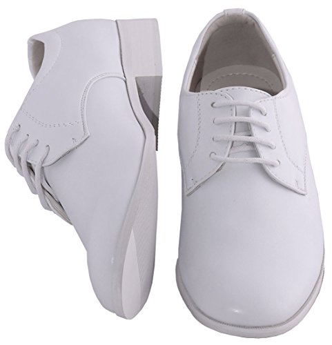 Boys White Shoes Lace Up with Round Toe for Baby to Boys Sizing (13 - Shoe White Tuxedo