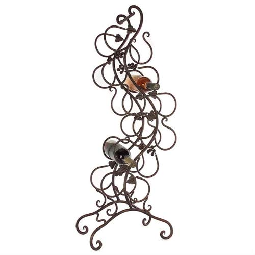 Wrought Iron Wine Leaf Rack - LordBee Modern Chic Decorative Wrought Iron 12-Bottle Wine Rack with Grape Leaves Vines Design Metal Contemporary Style Storage Organizer Display Holder Chic