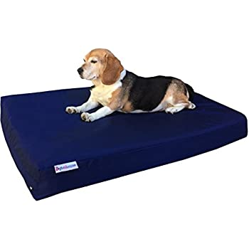 Dogbed4less Medium Orthopedic Dog Bed with Memory Foam for Pet, Waterproof Liner with Durable Nylon Blue External Cover, 35X20X4 Inches