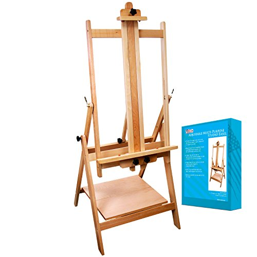 "US Art Supply Adjustable H-Frame Multi-Purpose Studio Artist Easel. Accommodates canvas art up to 59"" high."