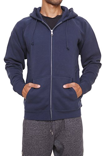 FORBIDEFENSE Men's Sweatshirt Hoodies Full Sleeve-Front Zip Premium Hood 2 Split Pocket Smoke Navy Medium